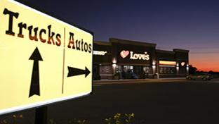 A Love's location at night