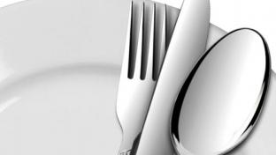 dinner plate with fork, knife and spoon