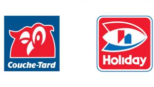 Logos for Couche-Tard and Holiday Cos.