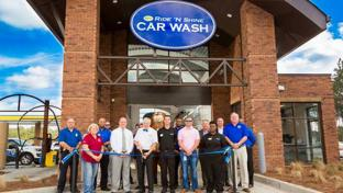 Spinx's Ride 'N' Shine tunnel car wash ribbon-cutting ceremony