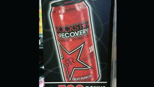 Speedway Rockstar beverage fridge door cling