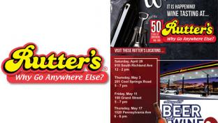 Rutter's logo with wine & food pairing promo