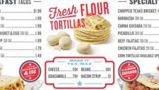 The menu for True Texas Tacos