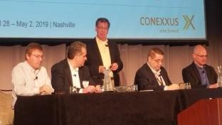 Ed Collupy, executive consultant at W. Capra Consulting Group, moderates an IT think tank panel at the 2019 Conexxus Annual Conference.
