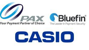 PAX, Bluefin and Casio logos