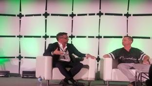 Jacopo D'Alessandris, president and CEO of E-Alternative Solutions, discusses CBD on a panel moderated by Cannapids CEO Case Mandel (r).