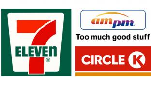 Logos for 7-Eleven, ampm and Circle K