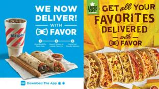 Delivery promotions for Stripes and Laredo Taco Co.