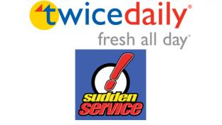 Logos for Twice Daily and Sudden Service c-stores